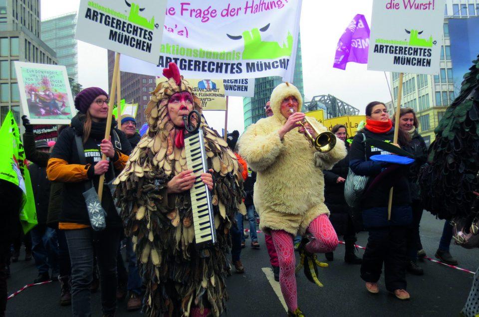 Proteste zur Grünen Woche in Berlin